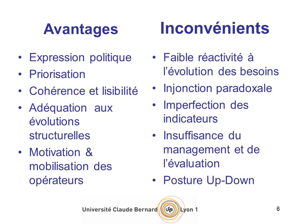 Avantages Expression politique Priorisation Cohérence et lisibilité Adéquation aux évolutions structurelles Motivation & mobilisation des opérateurs I