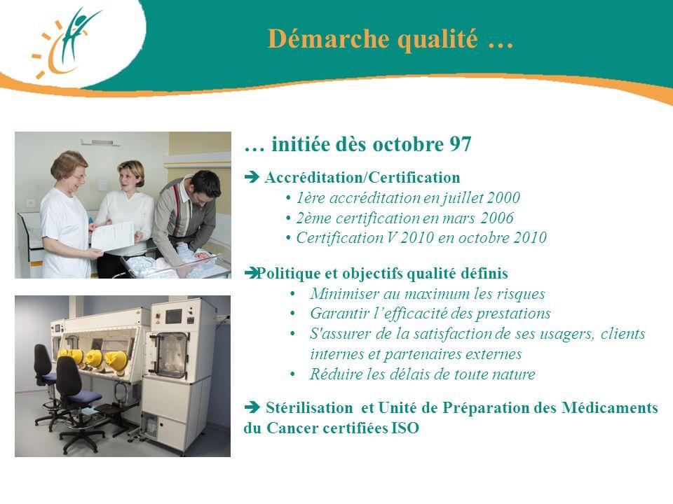 … initiée dès octobre 97 Accréditation/Certification 1ère accréditation en juillet 2000 2ème certification en mars 2006 Certification V 2010 en octobr
