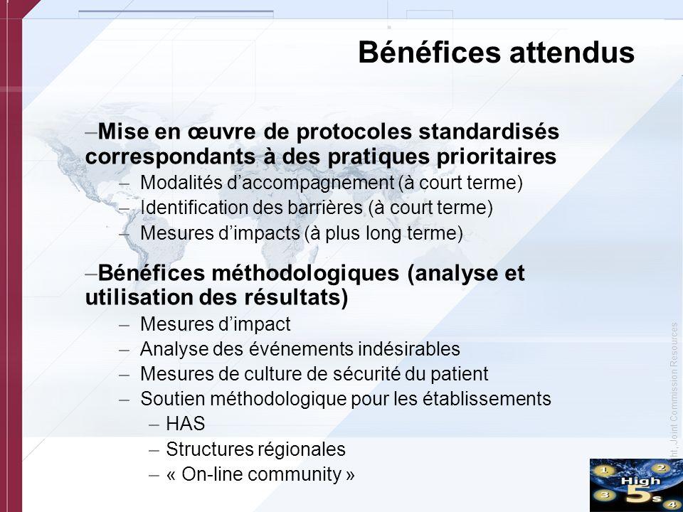 © Copyright, Joint Commission Resources Bénéfices attendus –Mise en œuvre de protocoles standardisés correspondants à des pratiques prioritaires –Moda