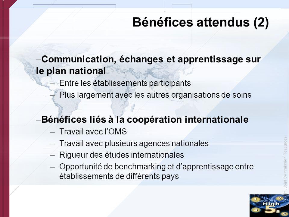 © Copyright, Joint Commission Resources Bénéfices attendus (2) –Communication, échanges et apprentissage sur le plan national –Entre les établissement