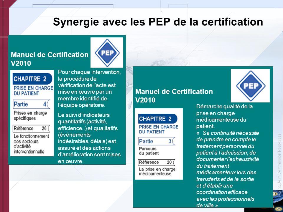 © Copyright, Joint Commission Resources Synergie avec les PEP de la certification Manuel de Certification V2010 Démarche qualité de la prise en charge