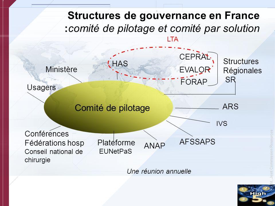 © Copyright, Joint Commission Resources Structures de gouvernance en France :comité de pilotage et comité par solution CEPRAL EVALOR FORAP Ministère C