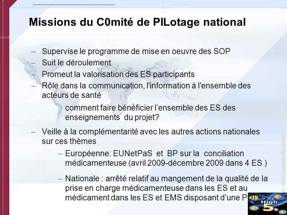 © Copyright, Joint Commission Resources Missions du C0mité de PILotage national –Supervise le programme de mise en oeuvre des SOP –Suit le déroulement