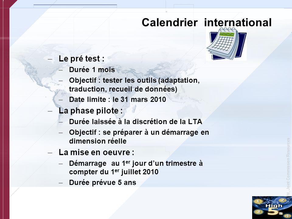 © Copyright, Joint Commission Resources Calendrier international –Le pré test : –Durée 1 mois –Objectif : tester les outils (adaptation, traduction, r