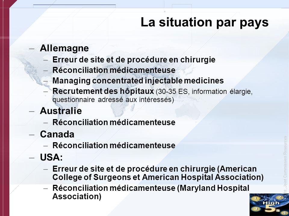 © Copyright, Joint Commission Resources La situation par pays –Allemagne –Erreur de site et de procédure en chirurgie –Réconciliation médicamenteuse –