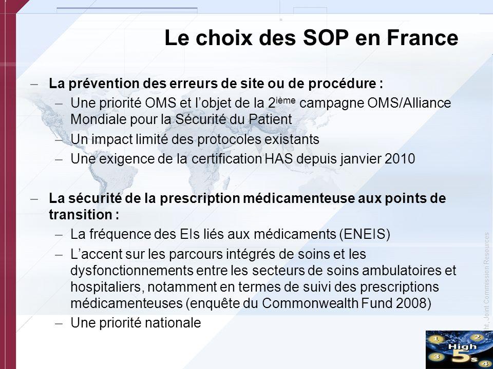 © Copyright, Joint Commission Resources Le choix des SOP en France –La prévention des erreurs de site ou de procédure : –Une priorité OMS et lobjet de