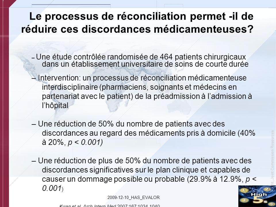 © Copyright, Joint Commission Resources 92009-12-10_HAS_EVALOR – Une étude contrôlée randomisée de 464 patients chirurgicaux dans un établissement uni