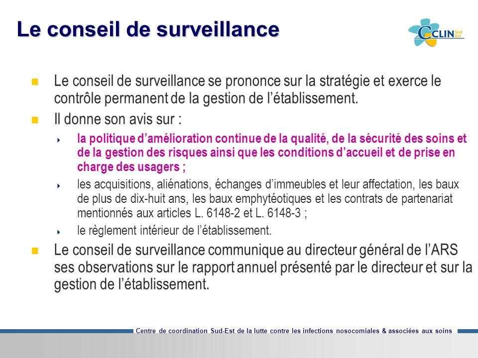 Centre de coordination Sud-Est de la lutte contre les infections nosocomiales & associées aux soins Le conseil de surveillance Le conseil de surveilla
