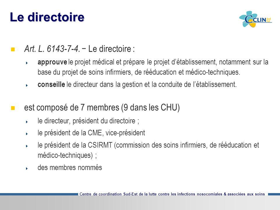 Centre de coordination Sud-Est de la lutte contre les infections nosocomiales & associées aux soins Le directoire Art. L. 6143-7-4. Le directoire : ap