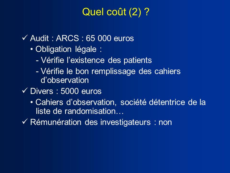 Audit : ARCS : 65 000 euros Obligation légale : - Vérifie lexistence des patients -Vérifie le bon remplissage des cahiers dobservation Divers : 5000 e