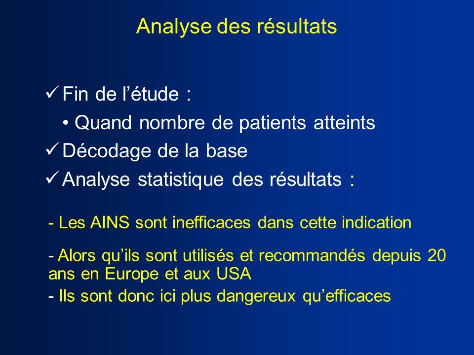 Analyse des résultats Fin de létude : Quand nombre de patients atteints Décodage de la base Analyse statistique des résultats : - Alors quils sont uti
