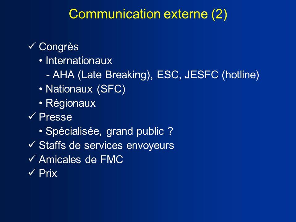 Congrès Internationaux - AHA (Late Breaking), ESC, JESFC (hotline) Nationaux (SFC) Régionaux Presse Spécialisée, grand public ? Staffs de services env