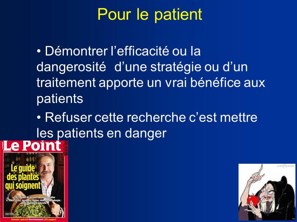 Pour le patient Démontrer lefficacité ou la dangerosité dune stratégie ou dun traitement apporte un vrai bénéfice aux patients Refuser cette recherche