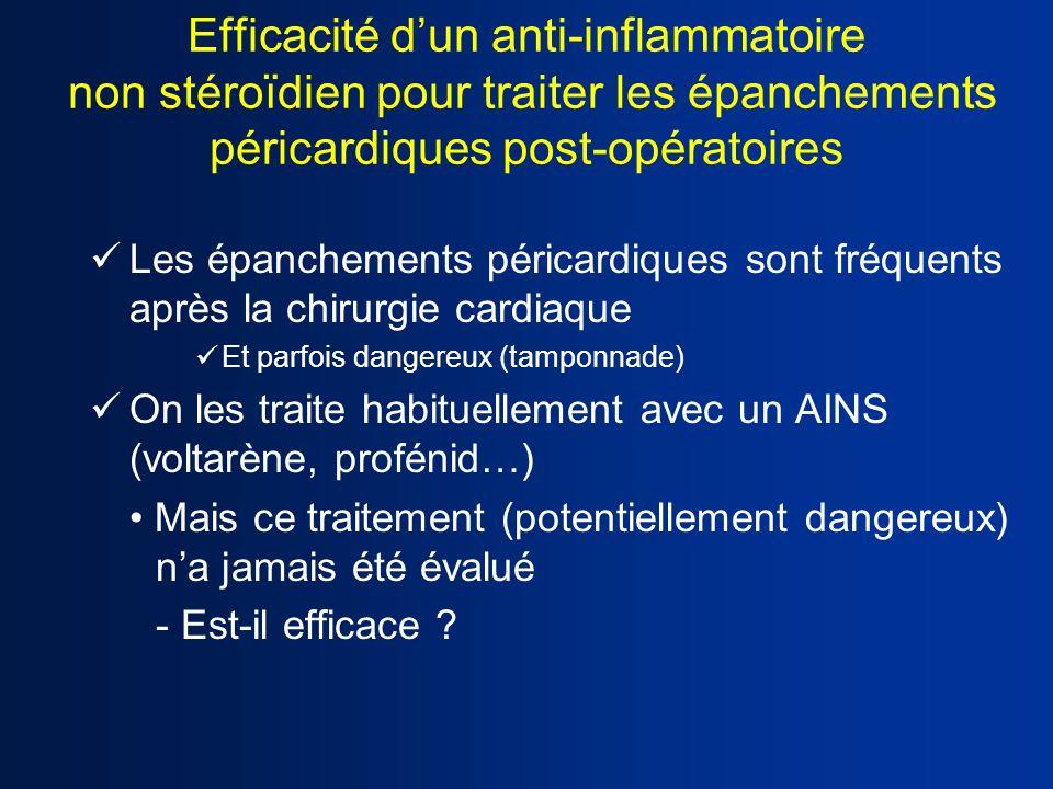 Efficacité dun anti-inflammatoire non stéroïdien pour traiter les épanchements péricardiques post-opératoires Les épanchements péricardiques sont fréq