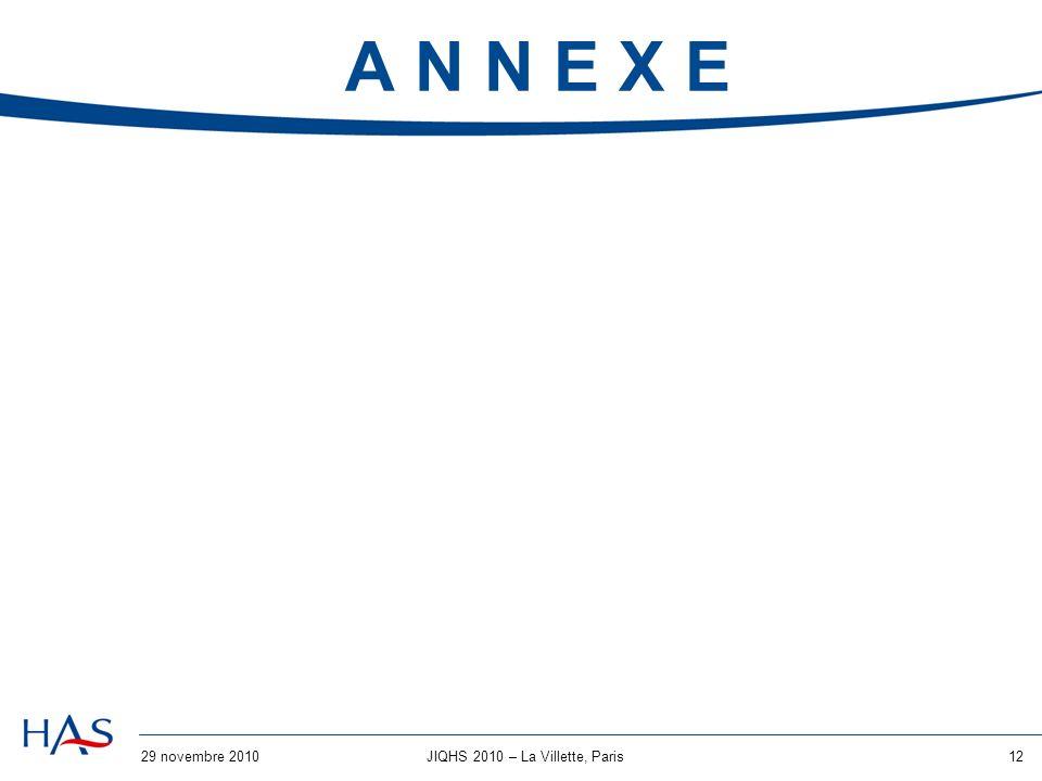 29 novembre 201012JIQHS 2010 – La Villette, Paris A N N E X E