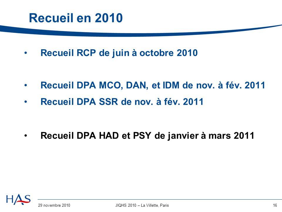 29 novembre 201016JIQHS 2010 – La Villette, Paris Recueil en 2010 Recueil RCP de juin à octobre 2010 Recueil DPA MCO, DAN, et IDM de nov.