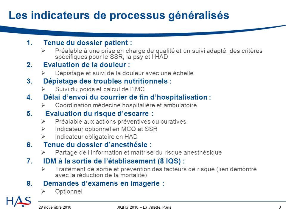 29 novembre 20104JIQHS 2010 – La Villette, Paris Analyse des résultats MCO Evolution des résultats des IQs entre 2008 et 2009
