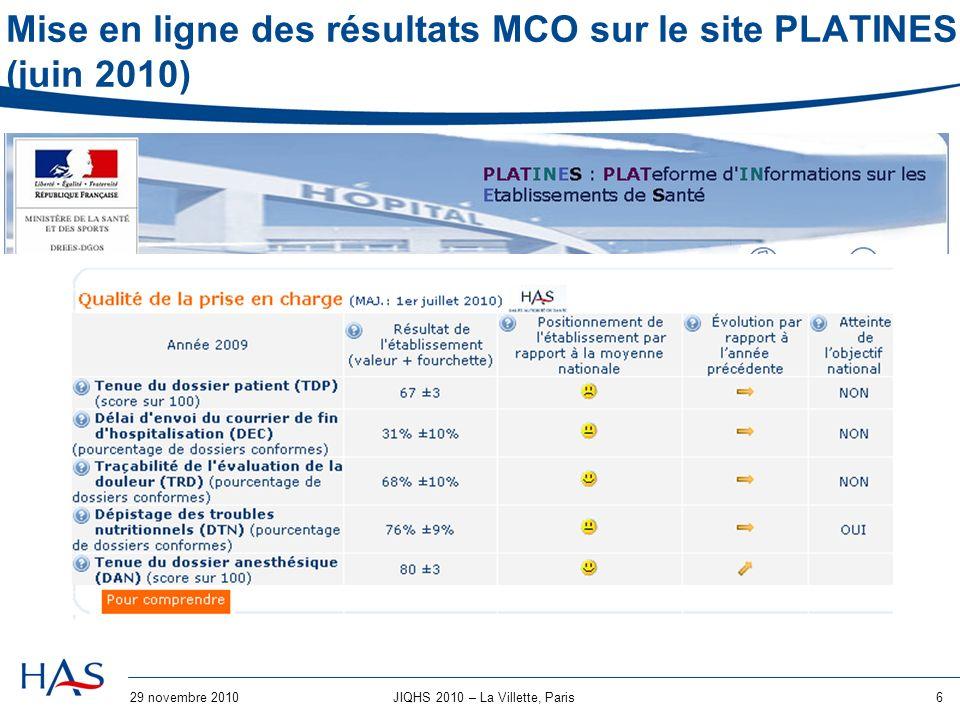 29 novembre 20106JIQHS 2010 – La Villette, Paris Mise en ligne des résultats MCO sur le site PLATINES (juin 2010)