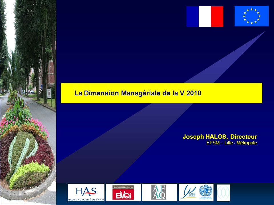1 La Dimension Managériale de la V 2010 Joseph HALOS, Directeur EPSM – Lille - Métropole