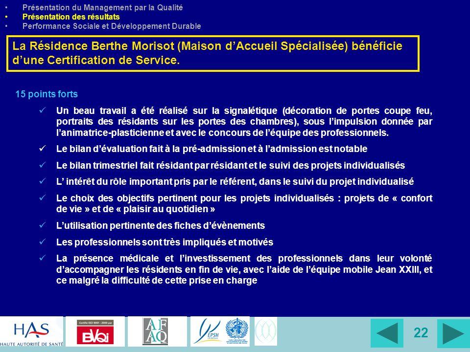 22 Présentation du Management par la Qualité Présentation des résultats Performance Sociale et Développement Durable La Résidence Berthe Morisot (Mais