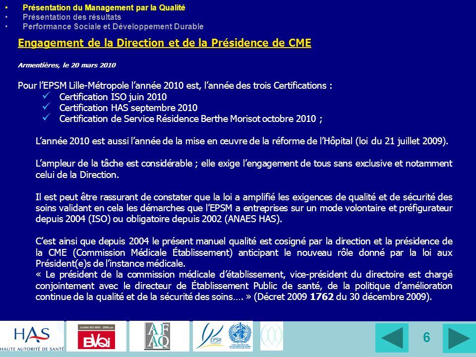 37 Conclusion Lefficience, la performance de lEPSM Lille- Métropole, cest dêtre passé de la Gestion de la Qualité à la Gestion par la Qualité.