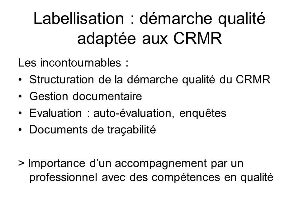 Labellisation : démarche qualité adaptée aux CRMR Les incontournables : Structuration de la démarche qualité du CRMR Gestion documentaire Evaluation :