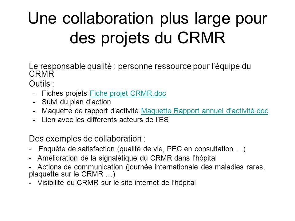 Une collaboration plus large pour des projets du CRMR Le responsable qualité : personne ressource pour léquipe du CRMR Outils : -Fiches projets Fiche
