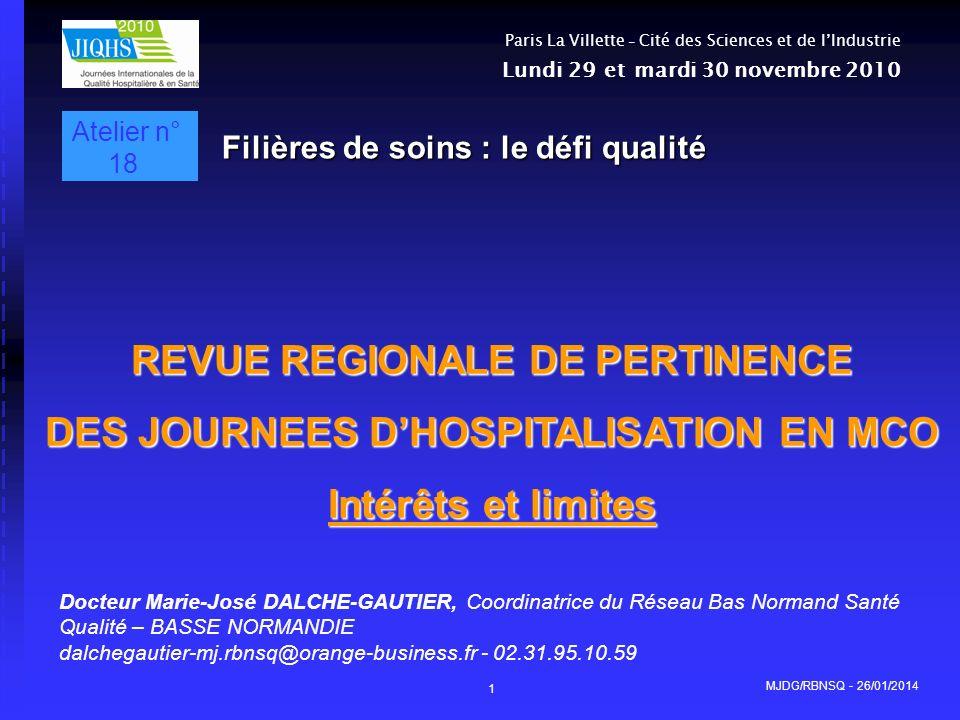 MJDG/RBNSQ - 26/01/2014 1 REVUE REGIONALE DE PERTINENCE DES JOURNEES DHOSPITALISATION EN MCO Intérêts et limites Docteur Marie-José DALCHE-GAUTIER, Co