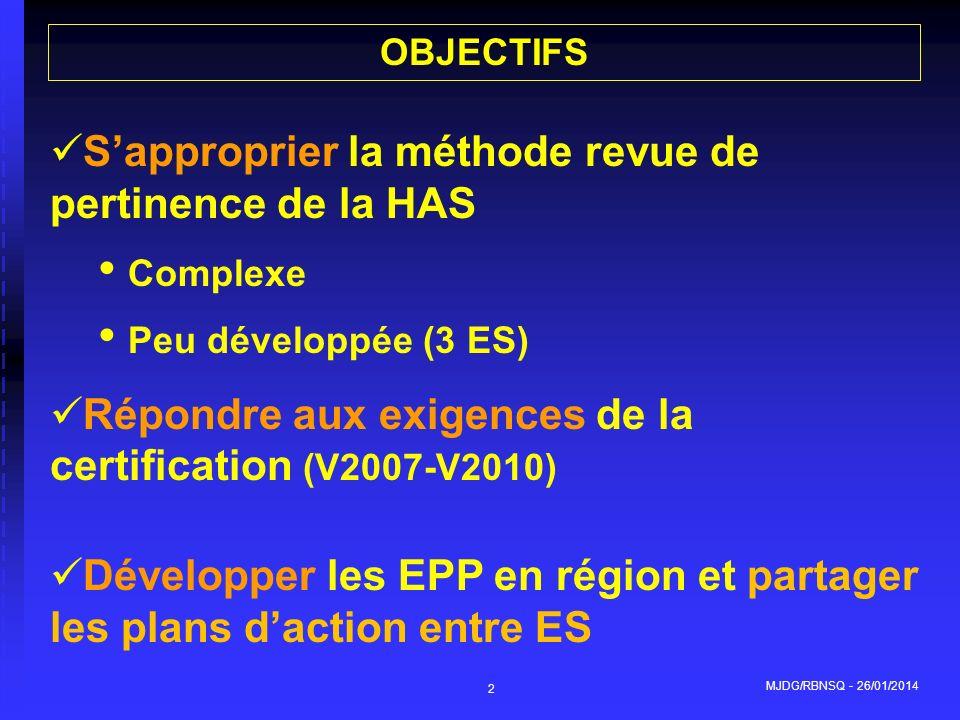 MJDG/RBNSQ - 26/01/2014 2 OBJECTIFS Sapproprier la méthode revue de pertinence de la HAS Complexe Peu développée (3 ES) Répondre aux exigences de la c