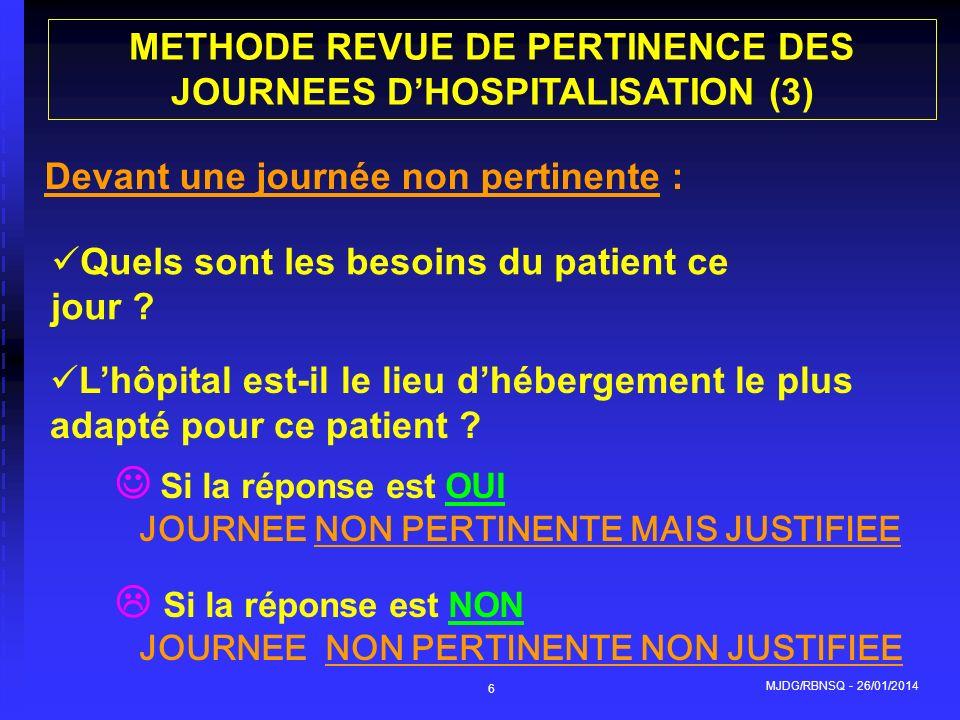 MJDG/RBNSQ - 26/01/2014 6 Si la réponse est OUI JOURNEE NON PERTINENTE MAIS JUSTIFIEE Si la réponse est NON JOURNEE NON PERTINENTE NON JUSTIFIEE METHO