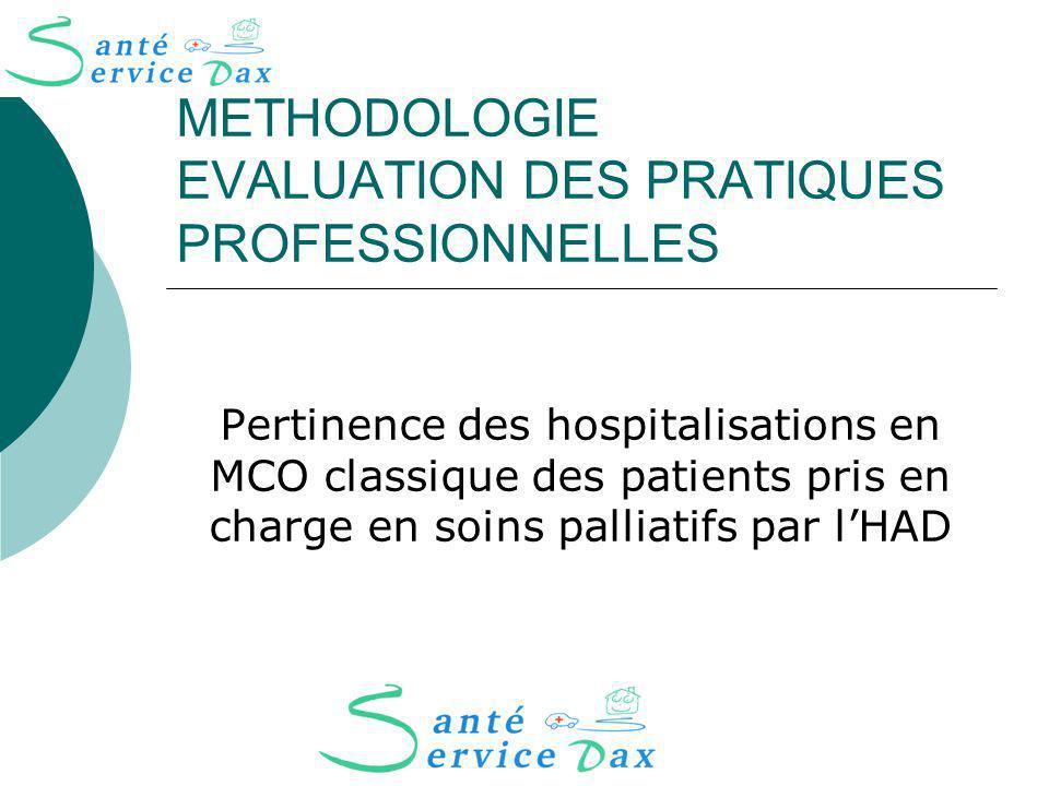 METHODOLOGIE EVALUATION DES PRATIQUES PROFESSIONNELLES Pertinence des hospitalisations en MCO classique des patients pris en charge en soins palliatifs par lHAD