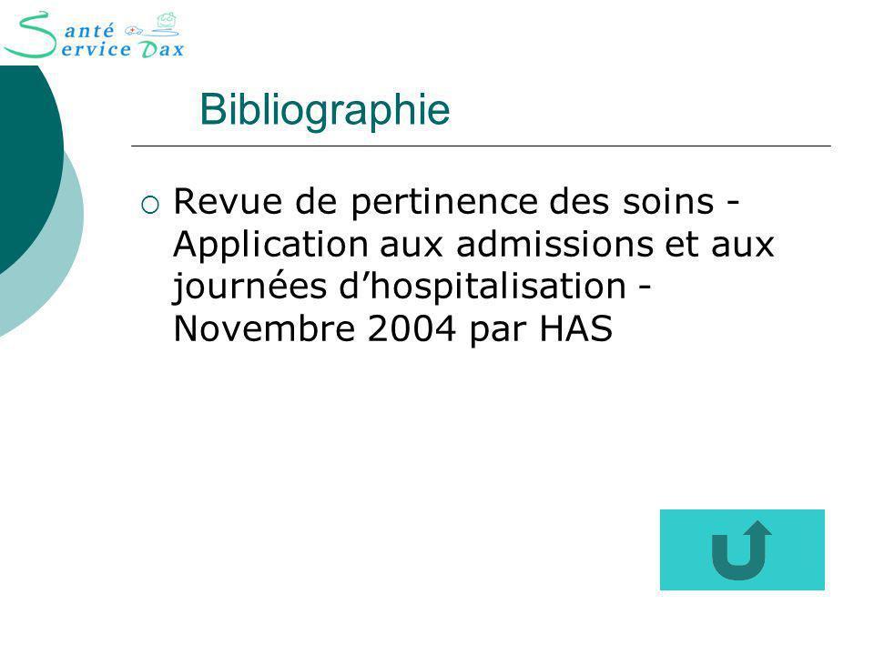 Bibliographie Revue de pertinence des soins - Application aux admissions et aux journées dhospitalisation - Novembre 2004 par HAS