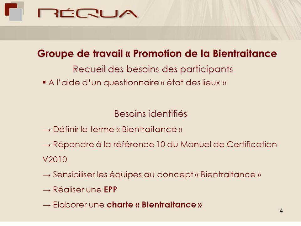 4 Groupe de travail « Promotion de la Bientraitance Groupe de travail « Promotion de la Bientraitance Recueil des besoins des participants A laide dun