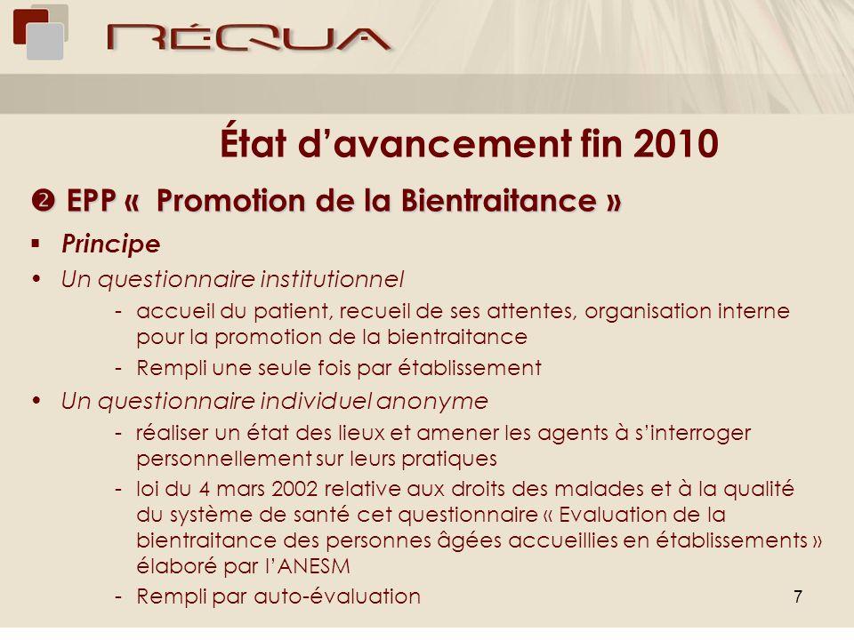 7 État davancement fin 2010 EPP « Promotion de la Bientraitance » EPP « Promotion de la Bientraitance » Principe Un questionnaire institutionnel -accu