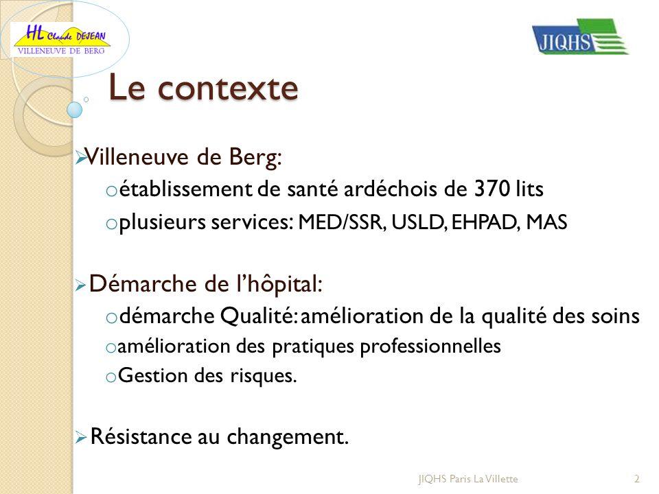 Le contexte Villeneuve de Berg: o établissement de santé ardéchois de 370 lits o plusieurs services : MED/SSR, USLD, EHPAD, MAS Démarche de lhôpital: