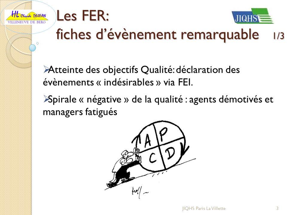 Les FER: fiches dévènement remarquable 1/3 Atteinte des objectifs Qualité: déclaration des évènements « indésirables » via FEI. Spirale « négative » d