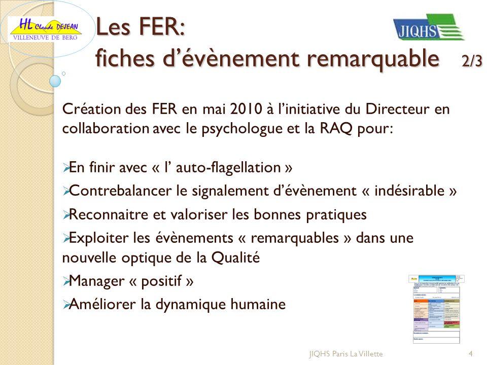 Création des FER en mai 2010 à linitiative du Directeur en collaboration avec le psychologue et la RAQ pour: En finir avec « l auto-flagellation » Con