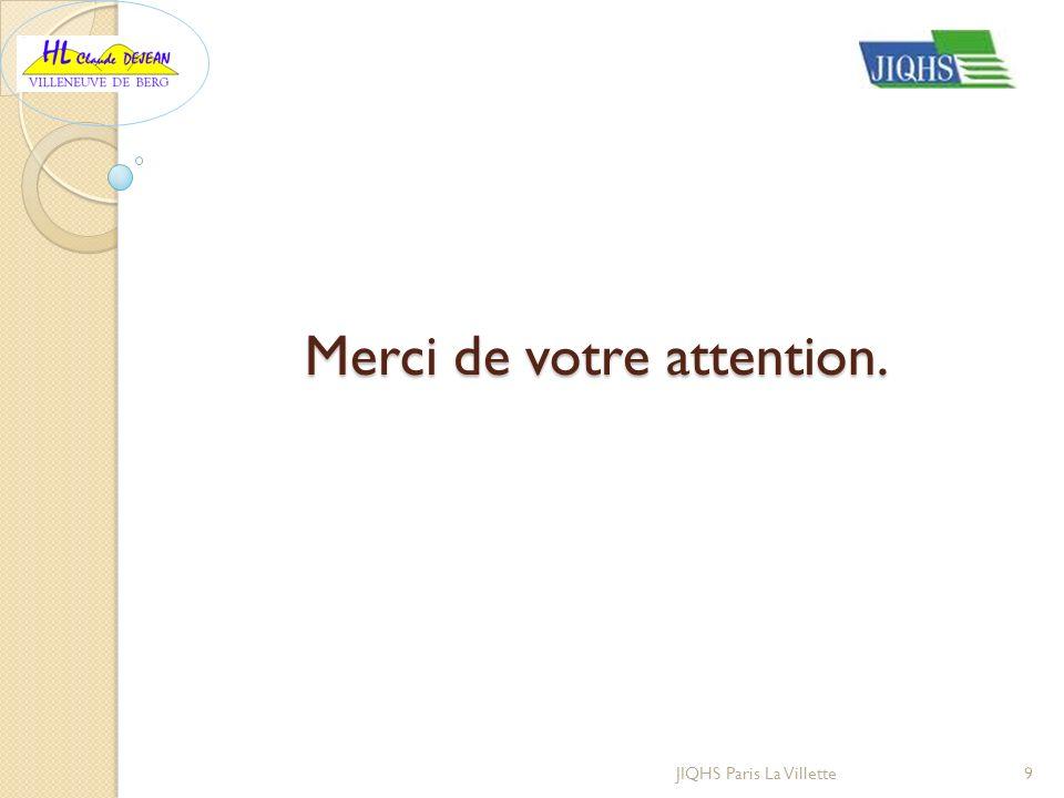 Merci de votre attention. JIQHS Paris La Villette9