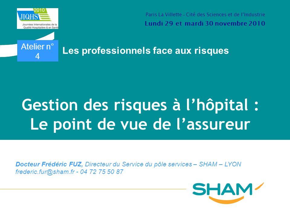 Gestion des risques à lhôpital : Le point de vue de lassureur Docteur Frédéric FUZ, Directeur du Service du pôle services – SHAM – LYON frederic.fur@s
