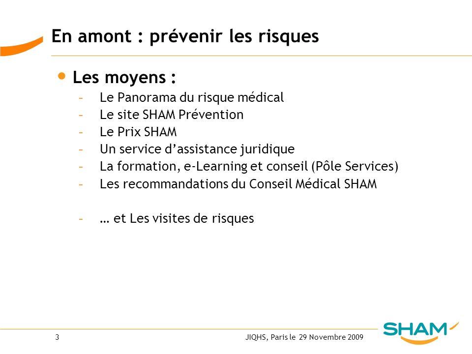 JIQHS, Paris le 29 Novembre 20093 En amont : prévenir les risques Les moyens : - Le Panorama du risque médical - Le site SHAM Prévention - Le Prix SHA