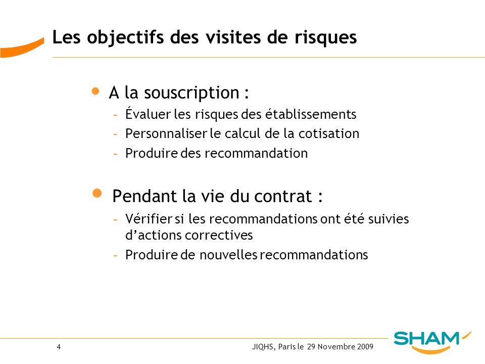 JIQHS, Paris le 29 Novembre 20094 Les objectifs des visites de risques A la souscription : - Évaluer les risques des établissements - Personnaliser le