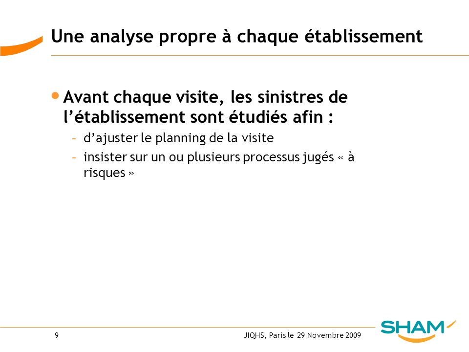 JIQHS, Paris le 29 Novembre 20099 Une analyse propre à chaque établissement Avant chaque visite, les sinistres de létablissement sont étudiés afin : -