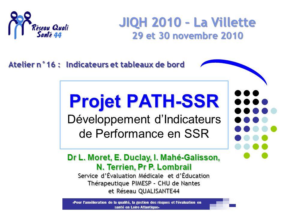 «Pour lamélioration de la qualité, la gestion des risques et lévaluation en santé en Loire Atlantique» Projet PATH-SSR Projet PATH-SSR Développement d