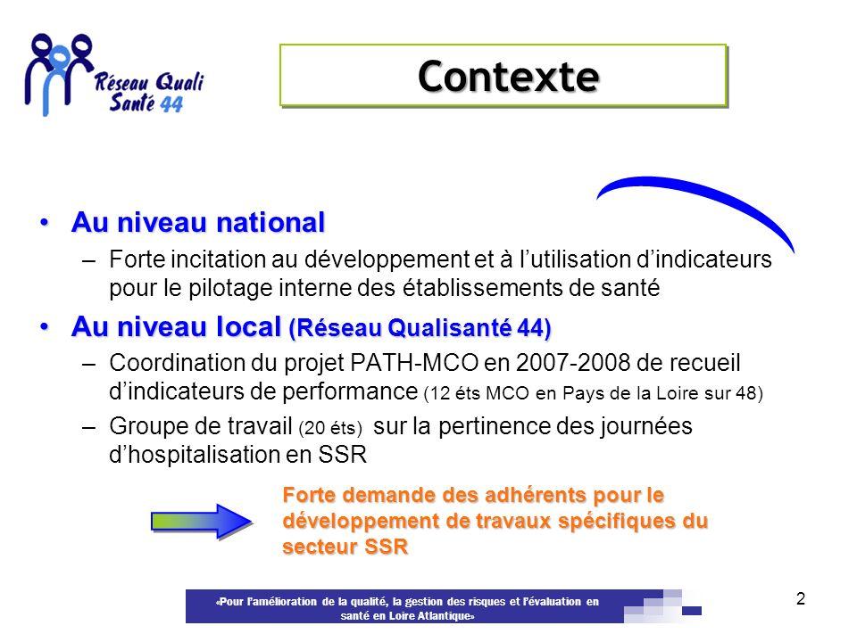 «Pour lamélioration de la qualité, la gestion des risques et lévaluation en santé en Loire Atlantique» Au niveau nationalAu niveau national –Forte inc