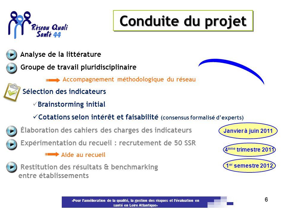 «Pour lamélioration de la qualité, la gestion des risques et lévaluation en santé en Loire Atlantique» 66 Analyse de la littérature Groupe de travail