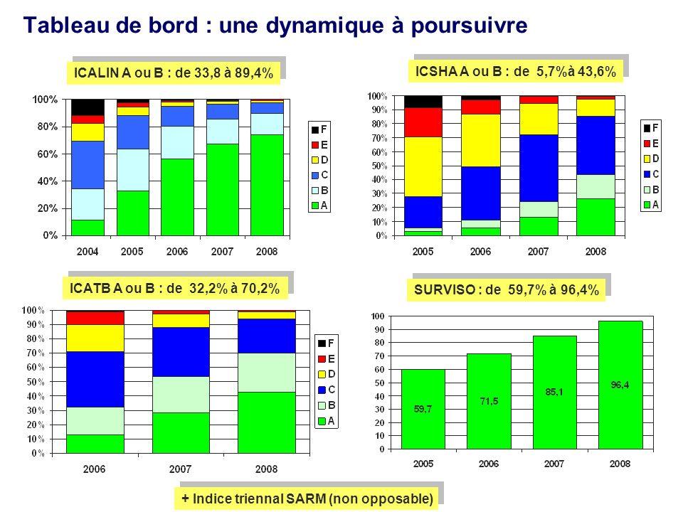 Tableau de bord : une dynamique à poursuivre ICALIN A ou B : de 33,8 à 89,4% ICSHA A ou B : de 5,7%à 43,6% ICATB A ou B : de 32,2% à 70,2% SURVISO : de 59,7% à 96,4% + Indice triennal SARM (non opposable)