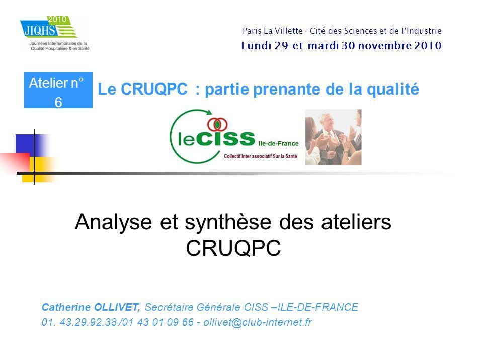 Analyse et synthèse des ateliers CRUQPC Catherine OLLIVET, Secrétaire Générale CISS –ILE-DE-FRANCE 01. 43.29.92.38 /01 43 01 09 66 - ollivet@club-inte