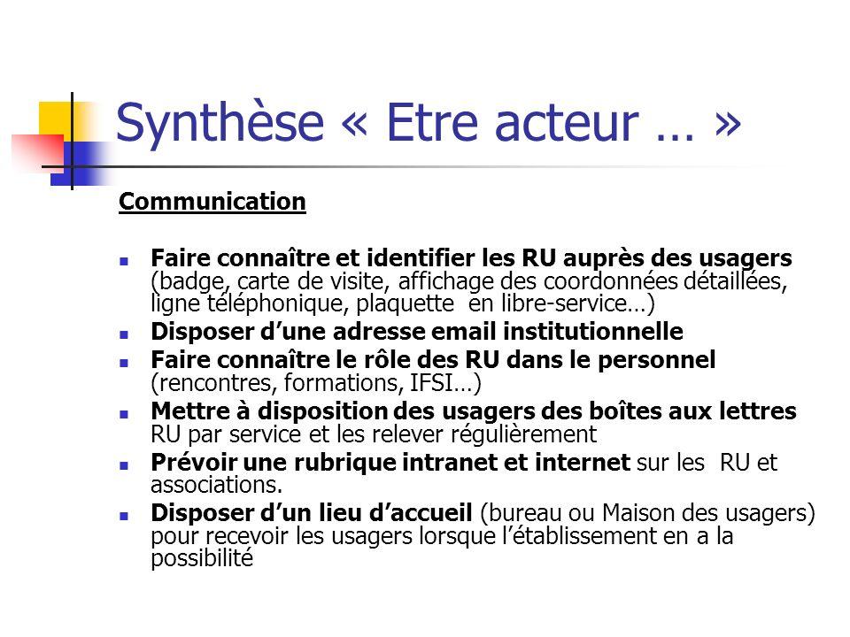 Synthèse « Etre acteur … » Communication Faire connaître et identifier les RU auprès des usagers (badge, carte de visite, affichage des coordonnées dé