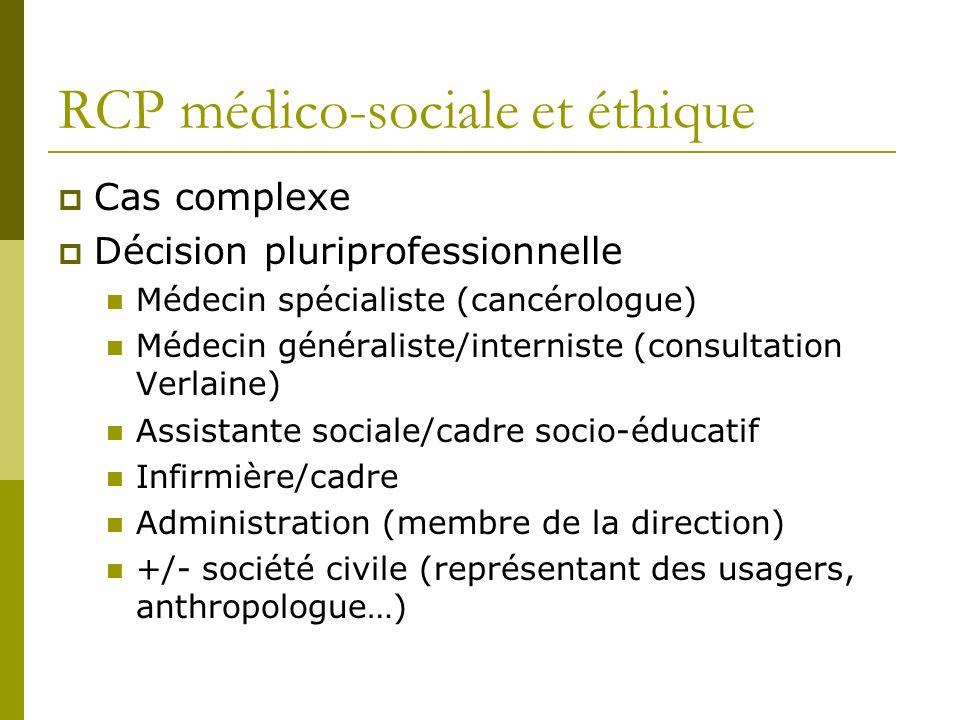 RCP médico-sociale et éthique Cas complexe Décision pluriprofessionnelle Médecin spécialiste (cancérologue) Médecin généraliste/interniste (consultati