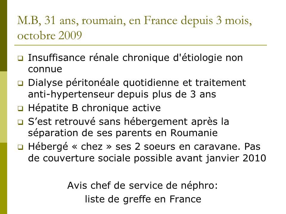 M.B, 31 ans, roumain, en France depuis 3 mois, octobre 2009 Insuffisance rénale chronique d'étiologie non connue Dialyse péritonéale quotidienne et tr